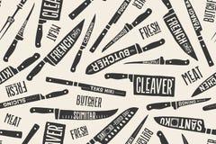 Безшовная картина с ножами мясника иллюстрация вектора