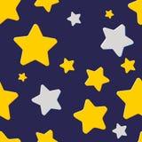 Безшовная картина с ночным небом и звездами Стоковое Фото