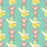 Безшовная картина с обезьянами и бананами иллюстрация вектора