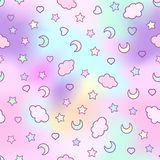 Безшовная картина с облаками, луна, звезды, и в doodle Стоковые Фото