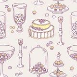 Безшовная картина с объектами шоколадного батончика doodle Стоковые Изображения