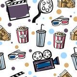 Безшовная картина с объектами doodle кино Бесплатная Иллюстрация