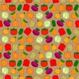 Безшовная картина с овощами Стоковое Изображение RF
