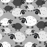 Безшовная картина с овцами иллюстрация вектора