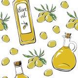 Безшовная картина с оливковым маслом Бесплатная Иллюстрация