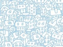 Безшовная картина с домами и дворами Стоковая Фотография RF