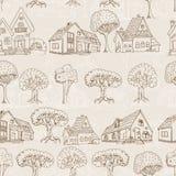 Безшовная картина с домами и деревьями Стоковое Изображение RF