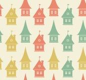 Безшовная картина с домами. Простой геометрический фон городка. Текстура городского пейзажа Стоковые Изображения RF