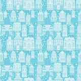 Безшовная картина с домами сказки, фонариками Стоковые Изображения RF