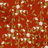 Безшовная картина с омелой на красной предпосылке бесплатная иллюстрация