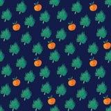 Безшовная картина с оранжевыми и экзотическими лист бесплатная иллюстрация