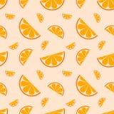 Безшовная картина с оранжевым плодоовощ также вектор иллюстрации притяжки corel Стоковое фото RF