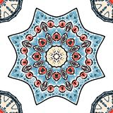 Безшовная картина с орнаментами в стиле стежками вышивки, украшением мандал на белой предпосылке иллюстрация вектора