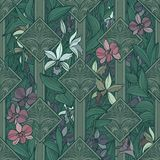 Безшовная картина с орхидеями и орнаментами иллюстрация штока
