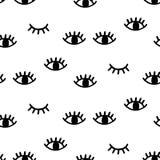 Безшовная картина с открытыми и подмигивая глазами Стоковые Фото