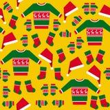 Безшовная картина с одеждами рождества Стоковая Фотография RF