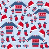 Безшовная картина с одеждами рождества Стоковое Изображение RF