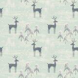 Безшовная картина с оленями в лесе зимы Стоковое Изображение