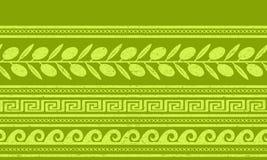 Безшовная картина с оливками и греческими символами Стоковые Фото