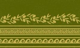 Безшовная картина с оливками, пшеницей, и греческими символами Стоковая Фотография