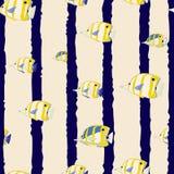 Безшовная картина с пакетом морских красочных рыб также вектор иллюстрации притяжки corel бесплатная иллюстрация