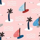 Безшовная картина с парусниками Предпосылка морского лета современная также вектор иллюстрации притяжки corel Стоковое Фото