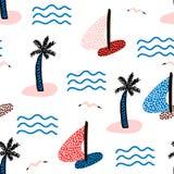 Безшовная картина с парусниками Предпосылка морского лета современная также вектор иллюстрации притяжки corel Стоковое Изображение RF