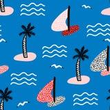 Безшовная картина с парусниками Предпосылка морского лета современная также вектор иллюстрации притяжки corel Стоковая Фотография RF