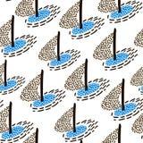 Безшовная картина с парусниками Предпосылка морского лета современная также вектор иллюстрации притяжки corel Стоковое Изображение