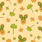 Безшовная картина с пастельными желтыми, оранжевыми и зелеными характерами и ветвями doodle иллюстрация вектора