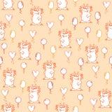 Безшовная картина с пастельными оранжевыми смешными shaggy чудовищами и желтыми, оранжевыми и розовыми воздушными шарами на оранж иллюстрация вектора