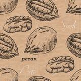 Безшовная картина с пеканом на винтажной предпосылке Стоковое Изображение
