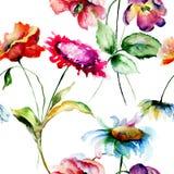 Безшовная картина с первоначально цветками Стоковое фото RF