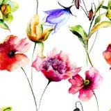 Безшовная картина с первоначально цветками Стоковое Изображение