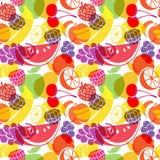 Безшовная картина с перекрывая плодоовощами Стоковое Изображение