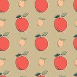 Безшовная картина с персиками Стоковое Изображение RF
