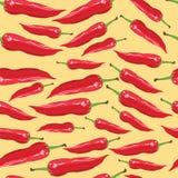 Безшовная картина с перцами красного chili - иллюстрация Стоковое Изображение