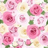 Безшовная картина с пинком и белыми розами. иллюстрация вектора
