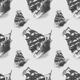Безшовная картина с пиратскими кораблями Нарисованная рукой иллюстрация вектора Иллюстрация вектора