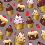 Безшовная картина с пирожными вишни Стоковая Фотография RF