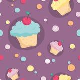 Безшовная картина с пирожными и кругами на фиолетовой предпосылке Стоковая Фотография RF