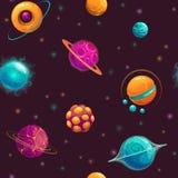 Безшовная картина с планетами фантазии шаржа Стоковые Изображения