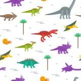 Безшовная картина с плоскими значками стиля динозавров Предпосылка для различного дизайна иллюстрация вектора
