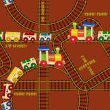 Безшовная картина с поездами и железной дорогой Дизайн для детей Иллюстрация вектора в стиле шаржа Стоковое фото RF