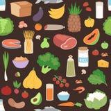 Безшовная картина с покрашенной vegan еды овощей иллюстрацией вектора здорового вегетарианского свежей органической бесплатная иллюстрация