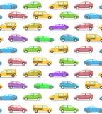 Безшовная картина с покрашенными автомобилями, плоский стиль вектора Седан или Стоковое Изображение RF