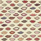 Безшовная картина с покрашенными губами Стоковое Изображение RF
