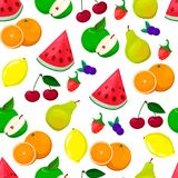 Безшовная картина с покрашенными плодоовощами Иллюстрация свежих продуктов Иллюстрация штока