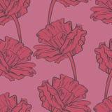 Безшовная картина с покрашенными рукой цветками эскиза Стоковое Фото