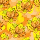 Безшовная картина с покрашенными рукой цветками эскиза Иллюстрация штока